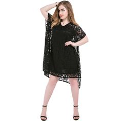 Plus size 5xl women fashion summer dress womens batwing sleeve loose large size black full lace casual soild dresses ZD1858