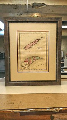 Old Maps looked great framed, this 1873 Isle Royale and Keweenaw Peninsula is framed in a fantastic combination of two mouldings. Keweenaw Peninsula, Framed Maps, Old Maps, Shadow Box, Custom Framing, Denver, Vintage World Maps, Cool Stuff, Unique