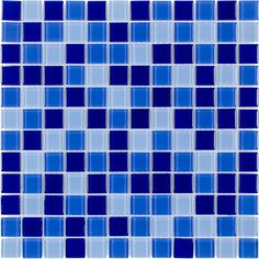 Shop Elida Ceramica Glass Mosaic Blue Multicolor Square Indoor/Outdoor Wall Tile (Common: 12-in x 12-in; Actual: 11.75-in x 11.75-in) at Lowes.com