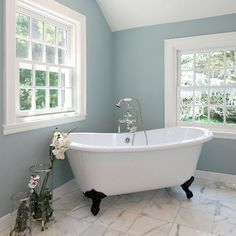 possible COLOR for second floor room: Languid Blue by Sherwin Williams at Houzz. Contemporary Bathroom design by New York Interior Designer AMI Designs. Best Paint Colors for Your Home: LIGHT BLUES at Remodelholic Popular Paint Colors, Bathroom Color Schemes, Small Bathroom Colors, Contemporary Bathrooms, Bathrooms Remodel, Painting Bathroom, Best Paint Colors, Bathroom Paint Colors, Contemporary Bathroom
