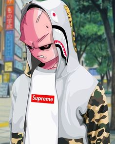 "「#hypeAF: the original and purest form of the Majin called Buu, ""A Bathing Buu-preme."" Illustration: @kurt_art」"