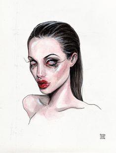 Angelina Jolie by Lucas David 2018 - Drawings & Illustrations - Kunst Inspo, Art Inspo, Cool Art Drawings, Art Drawings Sketches, Dark Drawings, Cartoon Kunst, Cartoon Art, Art And Illustration, Grunge Art