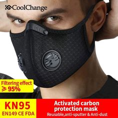 CoolChange Coronavirus Dust Mask Activated Carbon With Filter Anti-Pollution Cycling Sport Bicycle MTB Bike Face Mask - GamingOnAir. Bike Face Mask, Face Masks, Side Of Face, Full Face, Le Pollen, Diy Masque, To Go, Activated Carbon Filter, Online Shops