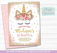 Printable Pink and Gold Glitter Unicorn Birthday Invitation - Unicorn Face - Cake - Girls Magical Unicorn Party Horse Party Favors, Unicorn Birthday Invitations, Printable Birthday Invitations, Baby Shower Invitations For Boys, Unicorn Birthday Parties, First Birthday Parties, First Birthdays, Gold Birthday, Diy Birthday