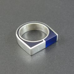 Cobalt blue resin and sterling silver ring
