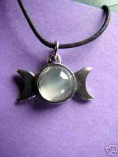 Triple Moon Necklace Pewter Pendant Hidden Pentacle Pagan Wicca Esbat | eBay