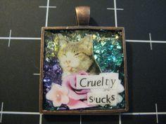 Sassy Cat Pendant Cruelty Sucks 10% goes to the by scrappyrat