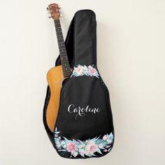 Watercolor Floral Whimsical Script Guitar Case - flowers floral flower design unique style
