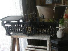 antique iron and brass scale german by StinkyTinkysTreasure