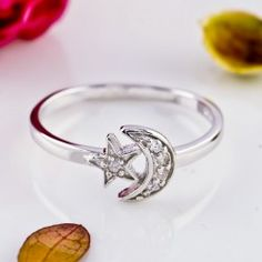 Cute Star And Moon 925 Sterling Silver Ring For Women - USD $42.95