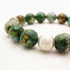Forest Green Agate Bracelet In Sterling Silver: Etsy