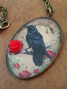 FREE US SHIPPING - Red rose raven resin inlay photo pendant via Etsy