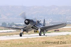 The Corsair with its inverted gull wings, and huge 13 ft propeller.