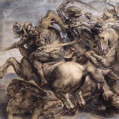 """""""La batalla de Anghiari"""" es un mural de Leonardo da Vinci. Se ha dicho que """"La batalla del estandarte"""", de Rubens, es una copia de esta obra del artista italiano."""