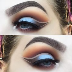 Delicious baby blue and brown cut crease from @lastfeastofthewolves in 'Cirque' lashes! #blackmagiclashes