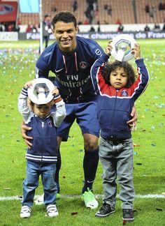 Thiago Silva, avec ses enfants #PSG