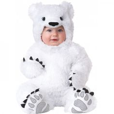 infant white polar bear costume halloween too cute baby Animal Costumes For Kids, Childrens Halloween Costumes, Bear Halloween, Toddler Costumes, Cute Costumes, Baby Costumes, Costume Halloween, Children Costumes, Halloween Halloween