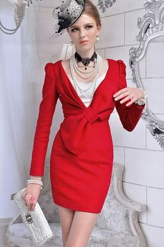 V-neck Bowknot Embellished Tight Wool Dress $110.00