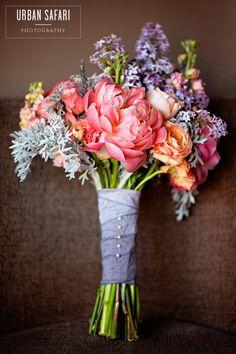 peony and lilac bridal bouquet - colorado wedding flowers - www.bellacalla.com - vintage bouquet