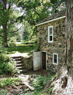The Old Springhouse Tyler Arboretum, Media, Pennsylvania Cozy Cottage, Cottage Homes, Cottage Style, Farm Cottage, Stone Cottages, Cabins And Cottages, Old Stone Houses, Old Houses, Beautiful Homes
