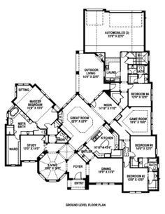 Houseplans.com Main Floor Plan Plan #141-296 Would add a door from master closet to study for a nursery, also needs a proper mudroom from the garage.