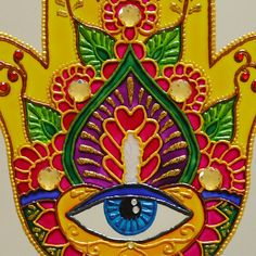 Stained Glass Hamsa Hand made in Mirror 30x30cm with 2cm beveled at the edge. Khamsa, Hand of Venus / Aphrodite, Hand of Mary.  #bela_mandala #belamandala