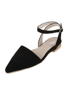 Full Leather Angled Concave Shape Flat Shoes  www.choies.com