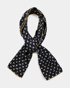 Kasuri Black Cross Scarf || kirikomade
