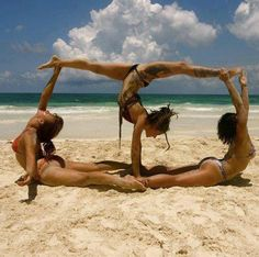 Summer Yoga Trio at the Beach