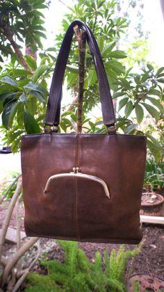 Vintage Rugged Brown Coach Leather Slim shoulder bag or tote, tiny kiss lock pocket