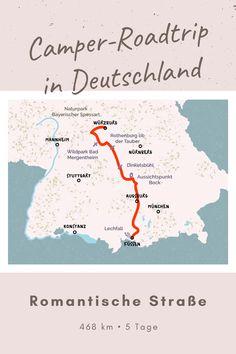 Roadtrip Romantische Straße - Zwischen Würzburg und Füssen finden Camping-Fans einfach alles, was das Herz begehrt: Natur, Kultur, Charme und Gastlichkeit. Die vielfältige Kulturlandschaft erstreckt sich vom Main über fränkische Weinbaugebiete und die malerischen Voralpen bis ins alpine Hochland. Auf dem Weg findest du prächtige Residenzen, mittelalterliche Fachwerkromantik und atemberaubende Natur. Camper, Roadtrip, Map, Glamour, Konstanz, Mannheim, Culture, Germany, Simple