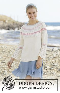 Relaxing in Reykjavik - Knitted sweater in DROPS Safran. The piece is worked top down with round yoke, Nordic pattern, lace pattern and ¾-length sleeves. Sizes S - XXXL. - Free pattern by DROPS Design Drops Design, Knitting Books, Free Knitting, Jumpers For Women, Sweaters For Women, Crochet Designs, Crochet Patterns, Handgestrickte Pullover, Magazine Drops