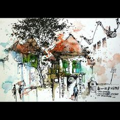 """Managed to did 3 ink drawings at Waterloo St area yesterday,  this is first piece, colouring done at home.   """"Singapore Calligraphy Centre, Sg"""" 23Jul2015 29.7x21cm Mixed media  #tilenti #tilen #theartcommunity #watercolor #watercolour  #watercolours #wate"""