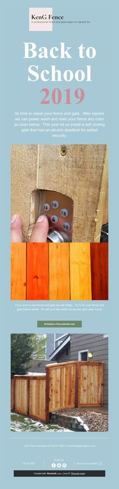 Its time to repair your fence and gate. After repairs we can power wash and stain your fence any color as seen below. This year let us install a self closing gate that has an electric deadbolt for added security. Electronic Deadbolt, Fence Gate, Back To School, Color, Colour, Entering School, Back To College, Colors