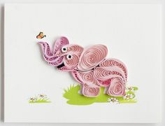 Quilled pink elephant