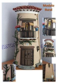 TEJAS DECORADAS EN RELIEVE: MODELO RURAL Tile Crafts, Craft Stick Crafts, Wood Crafts, Diy And Crafts, Clay Fairy House, Fairy Houses, Doll House Crafts, Clay Houses, Miniature Houses