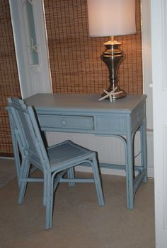 Chalk Painted Rattan Desk And Chair