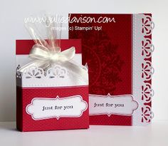 Julie's Stamping Spot -- Stampin' Up! Project Ideas by Julie Davison: Everyday Elegance Simply Sent Box Tutorial Stampin Up Christmas, Christmas Cards, Christmas Stuff, Christmas Ideas, Diy Bath Soaps, Elegant Business Cards, Valentine's Day Diy, Card Tutorials, Card Kit