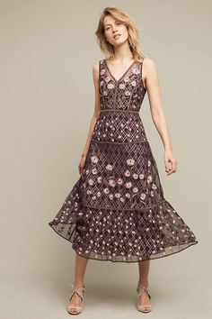 b9ead05c579ec New Anthroologie Tansey Tulle Midi Dress Embroidered Moulinette Soeurs 10  298