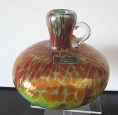 Vase, FRANZ AUSTEN Bodenmais Glasvase Unikat  irisierend Höhe 12,5 cm ° Signiert