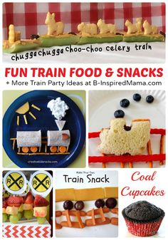 Fun Train Food and Snacks + Train Crafts and Party Ideas, Too at B-InspiredMama.com #kids #trains #funfood #kbn