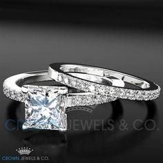 Engagement Ring Wedding Bridal Set For Women 1.5 ct Princess Cut Diamond 18K White Gold Setting Size 4 5 6 7 8