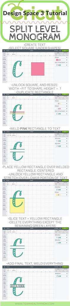 Cricut Tutorials and Tips How To create a split level monogram in Design Space using the slice tool. Cricut Tutorials | Team Healthy Mom