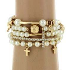 DISCONTINUED? 5-Strand Pearl and Goldtone Beaded Cross Stretch Bracelet #AB6520-GPL