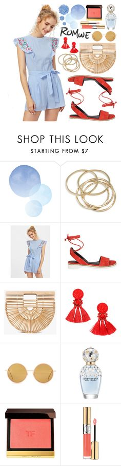 """""""Romwe Embroidered Romper!"""" by nvoyce ❤ liked on Polyvore featuring ABS by Allen Schwartz, Cult Gaia, Acne Studios, Marc Jacobs, Tom Ford and Yves Saint Laurent"""