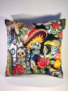 Handmade day of the dead Aztec cushion pillow or in a fabric of your choice #VoodooBettysBoutique #VintageRetro