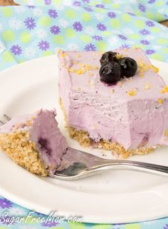 Sugar-Free Low Carb Blueberry Cream Pie bars- sugarfreemom.com