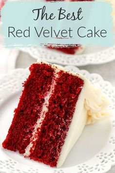 is my favorite Red Velvet Cake recipe! With a vanilla flavor, this cake also has a hint of chocolate in it as well. This cake is incredibly soft, moist, and buttery. Top of the best Red Velvet Cake with an easy, delicious cream cheese frosting. Moistest Red Velvet Cake Recipe, Homemade Red Velvet Cake, Easy Red Velvet Cake, Red Velvet Recipes, Homemade Cakes, Red Velvet Cake Recipe With Cream Cheese Frosting, Delicious Red Velvet Cake Recipe, Red Velvet Chocolate Cake, Red Cake