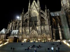 The steps of the Koln Dom at night - one of my favorite places to be.