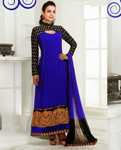 Blue embroidered anarkali suit   1. Blue georgette anarkali suit2.Thread embroidered sleeves3. Golden thread embroidered border on flare4. Comes with matching bottom and dupatta5. Can be stitched upto size 42 inches